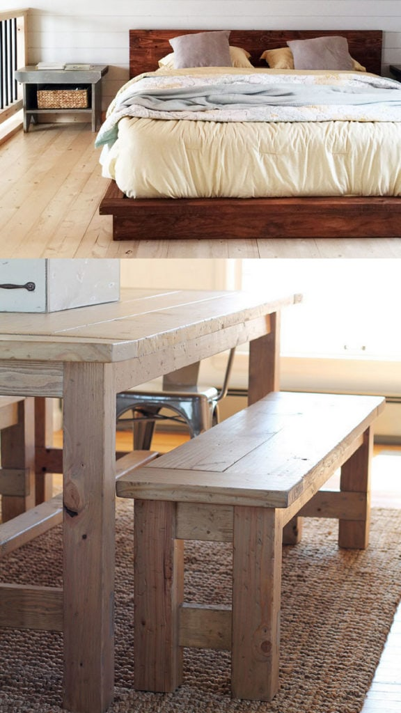 how to build Farmhouse Wood Benches with free plans