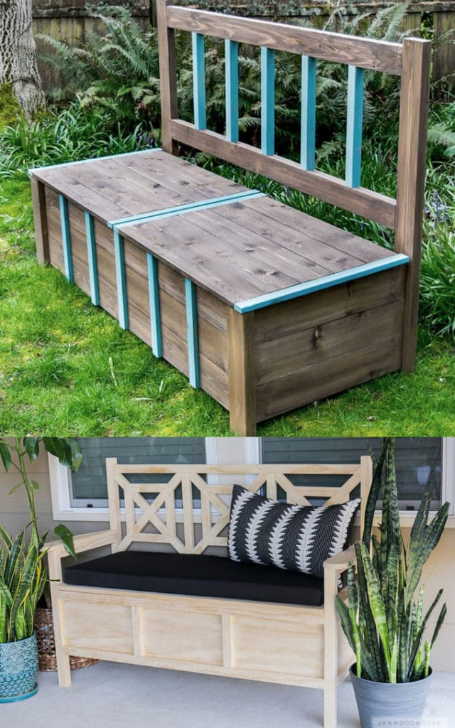 DIY Wood Benches with Back
