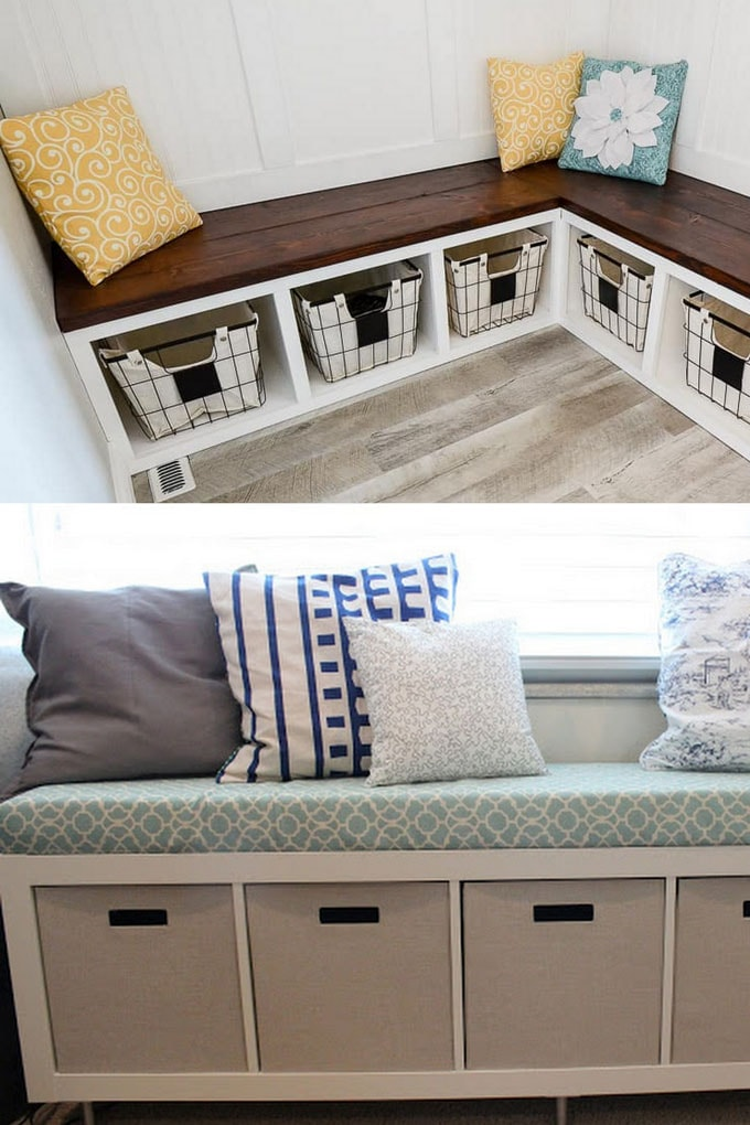 Easy Storage Bench Ideas & Ikea Hack