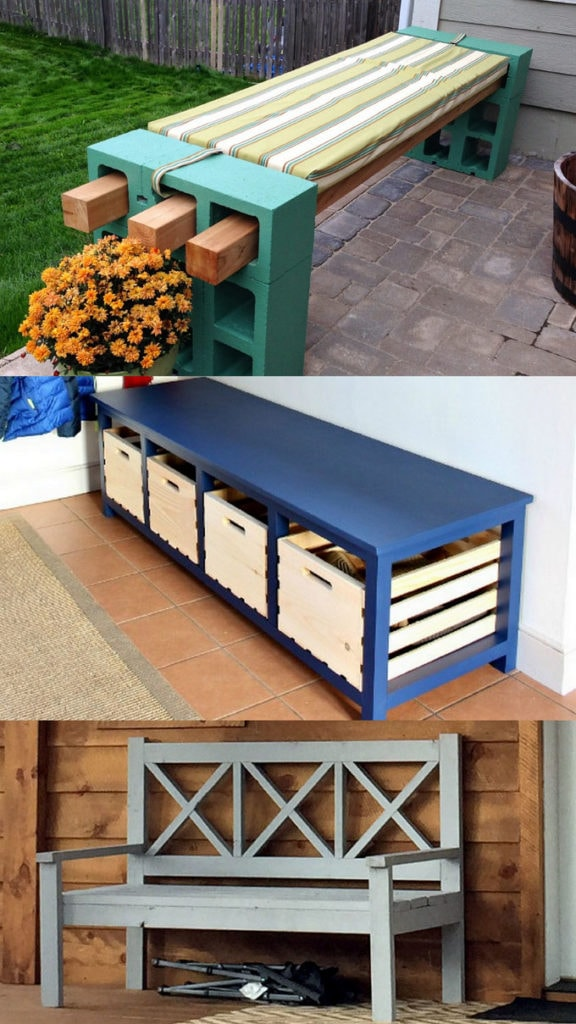 how to build easy DIY benches for indoor and outdoor use