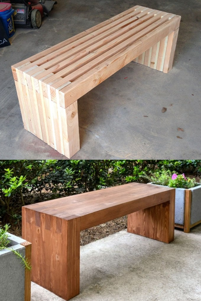 Easy DIY Wood Benches with 2x4s