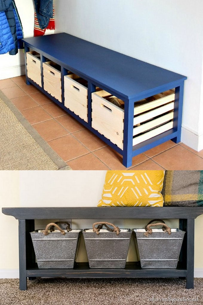 Painted DIY Benches with Storage