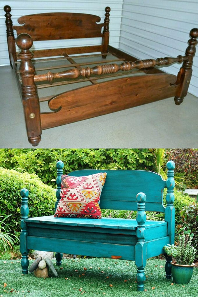 DIY Bench from Old Headboards