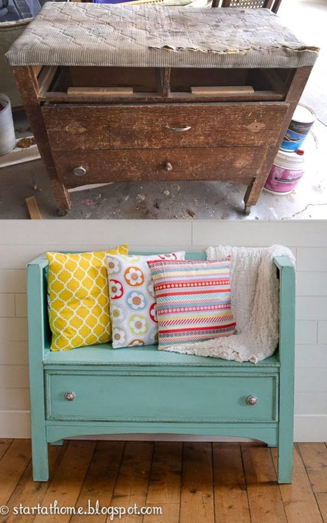 Re-purpose Old Dresser into A Sofa Bench
