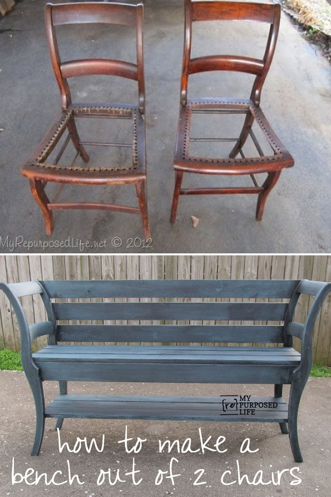 DIY Re-purposed Bench From Old Chairs