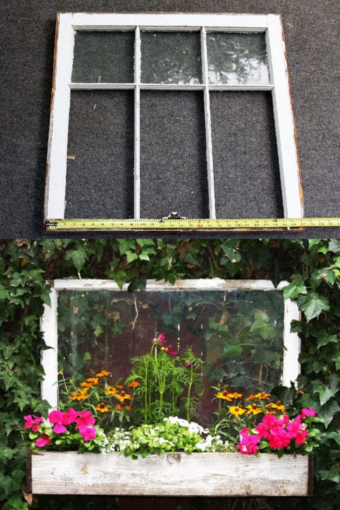 old window upcycled into garden planter