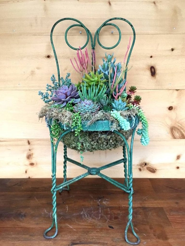 Repurposed Chair Planters