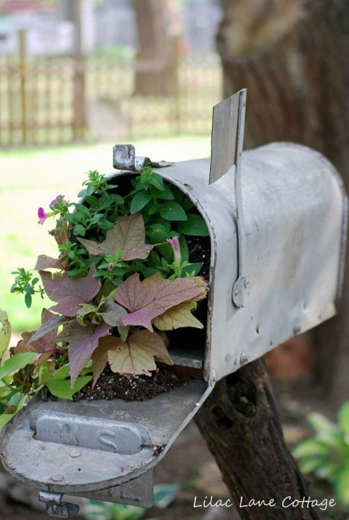Upcycled vintage garden decorations, whimsical mailbox planter