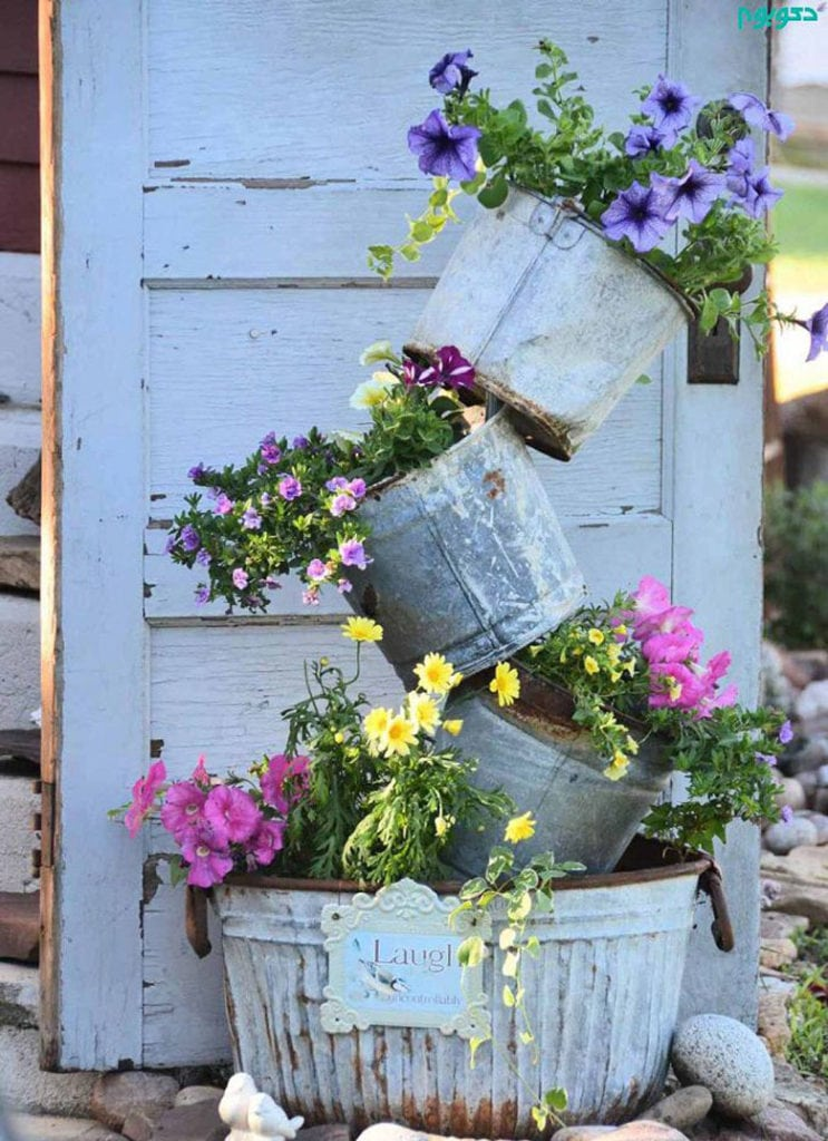 DIY farmhouse galvanized buckets tower planter