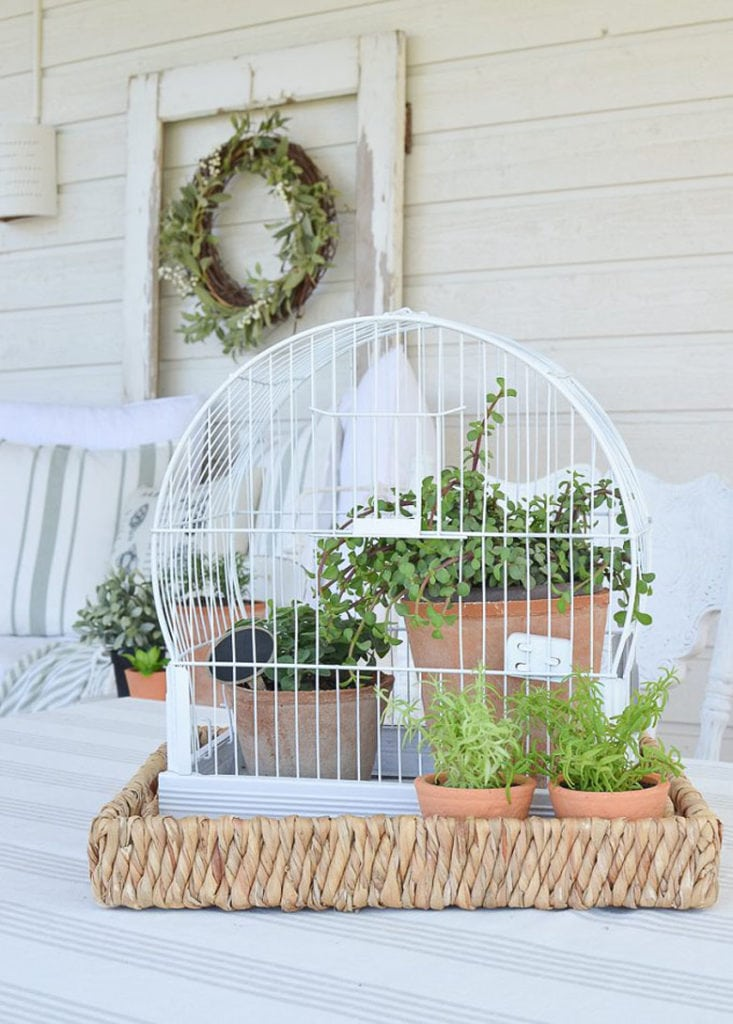 DIY birdcage planter vintage farmhouse garden decorations