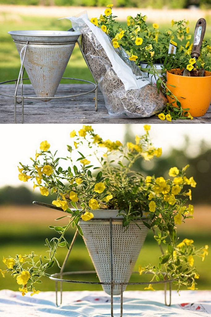 DIY vintage farmhouse planter with antique food mill