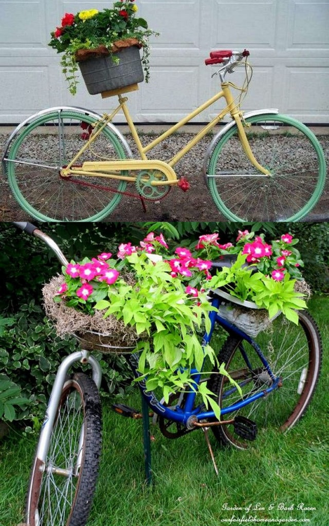 Old bicycle vintage garden decor planter