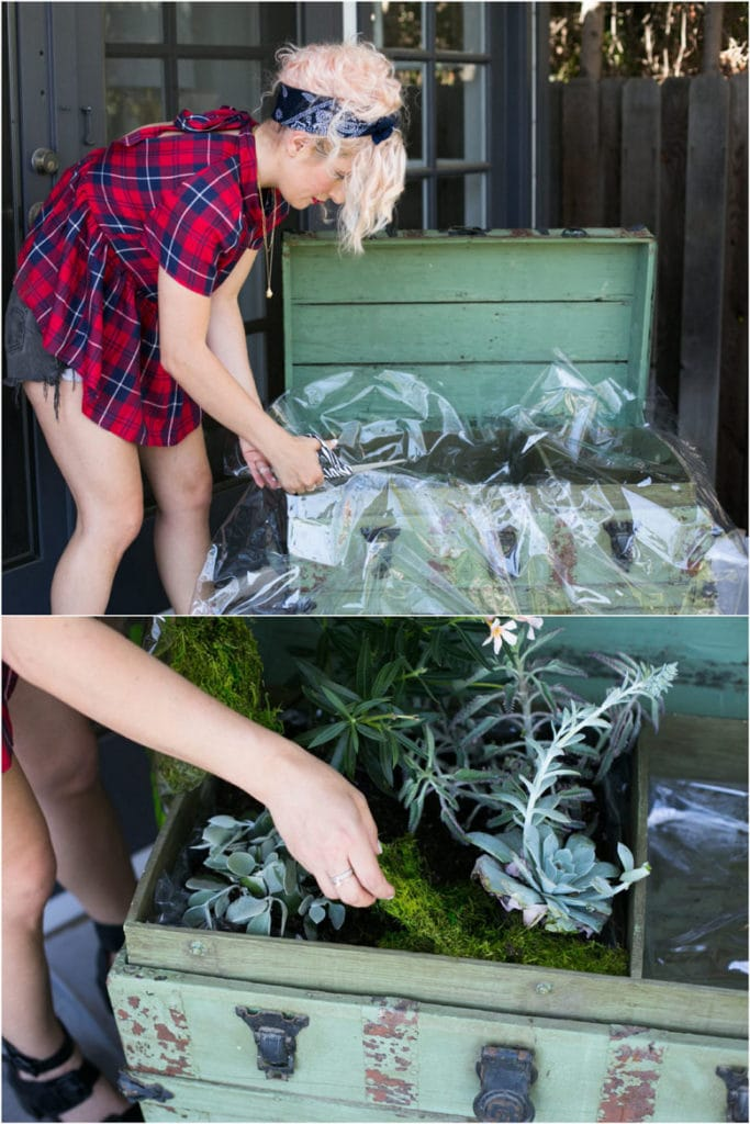 DIY vintage trunk garden decorations