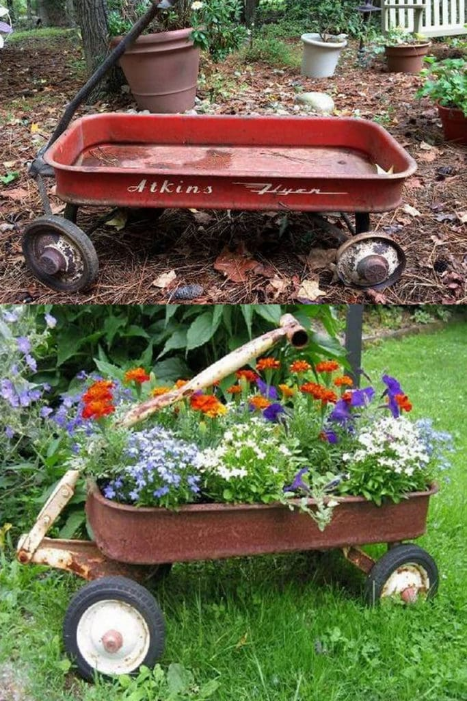 Create a vintage garden in wheelbarrows