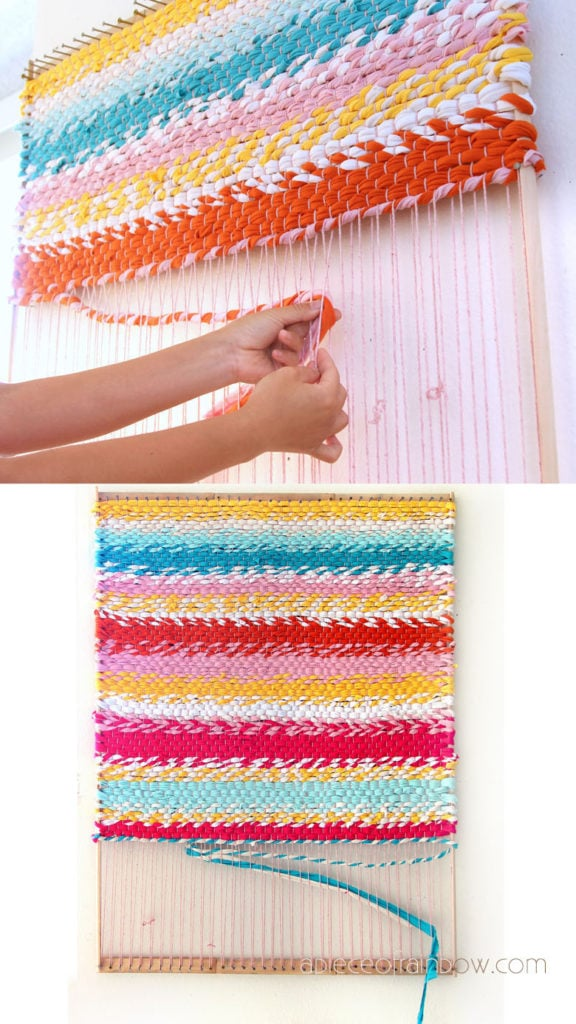 How to weave a beautiful boho t-shirt rag rug & build a simple DIY loom for weaving rugs & fabric wall hangings! Detailed tutorial & step by step photos.