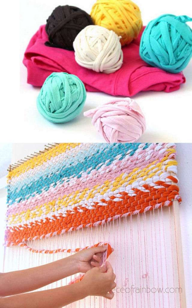How to weave a colorful boho farmhouse rag rug using DIY t-shirt yarn