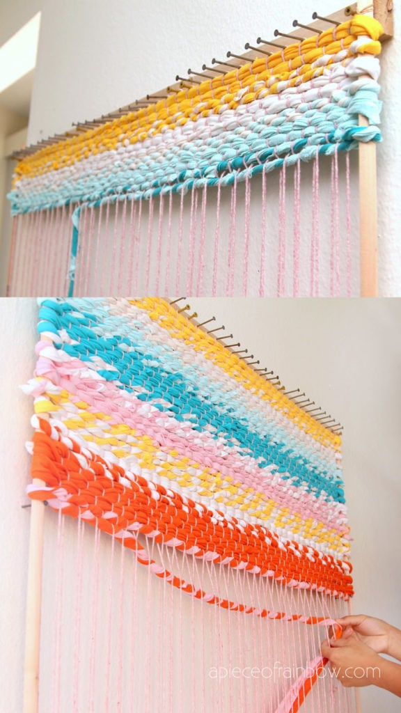 DIY rug with colorful fabric