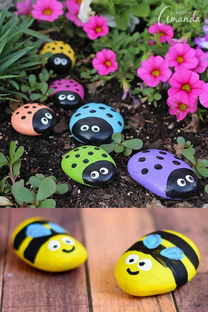 Ladybugs and bumble bees painted rock ideas