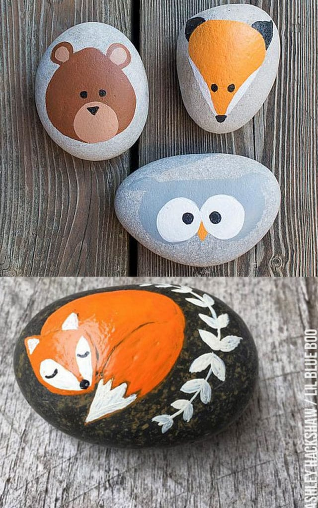 Paint animals on pebbles