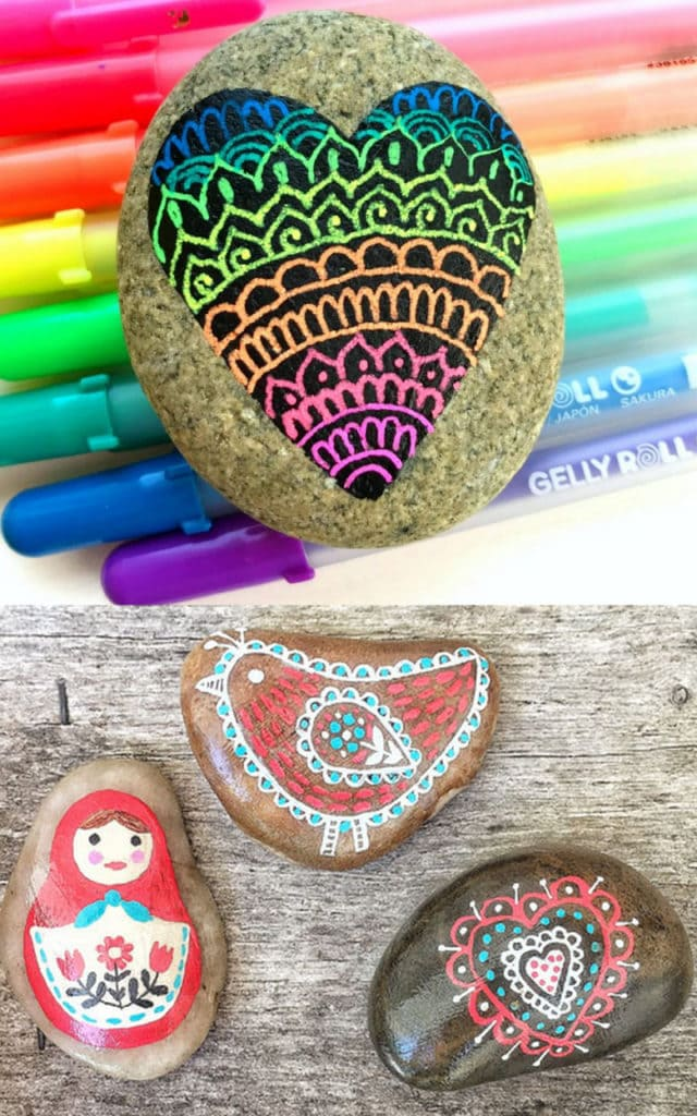 Boho folk art painted rock ideas