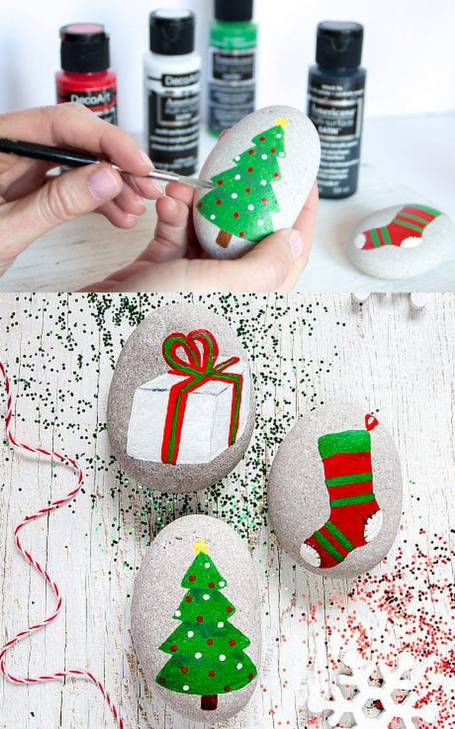 Christmas art painted rock ideas