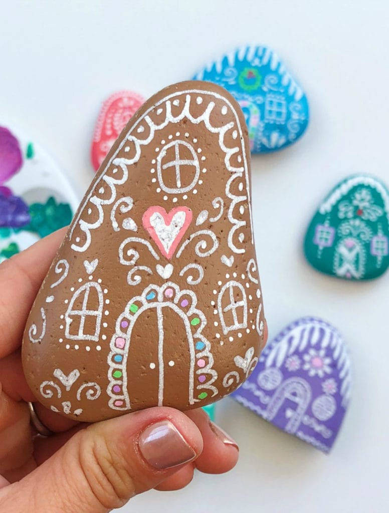 Gingerbread houses rock painting