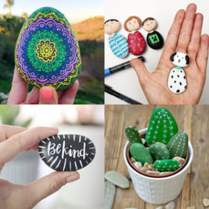 easy painted rock ideas: creative arts & crafts for kids & family. DIY home garden decorations & gifts by painting beautiful designs on stones & pebbles!
