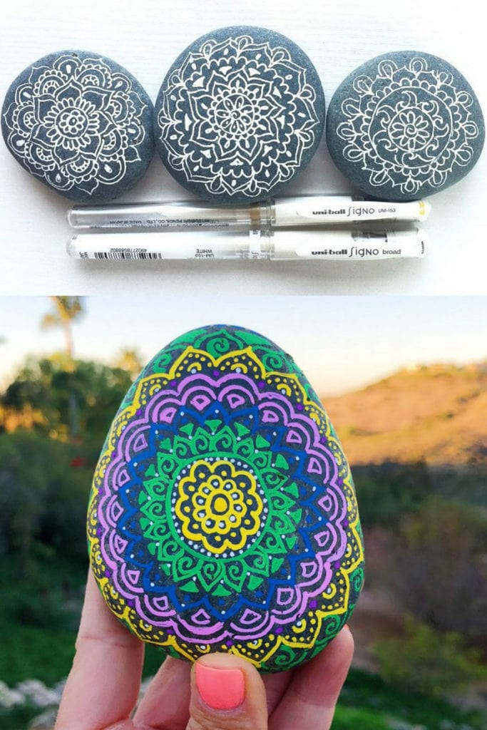 How to paint mandalas on rocks using paint pens