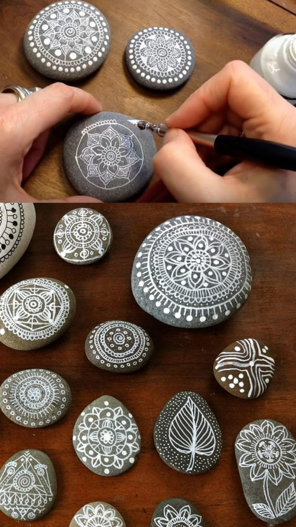 Drawing art on pebbles and stones using white pens