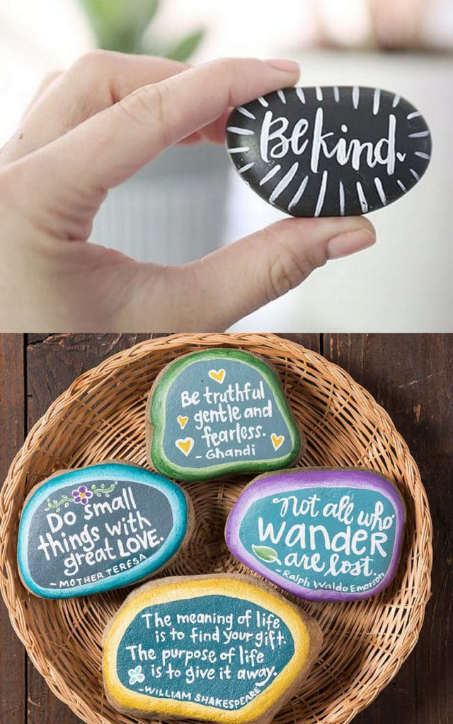 Inspiring quotes painted rock ideas