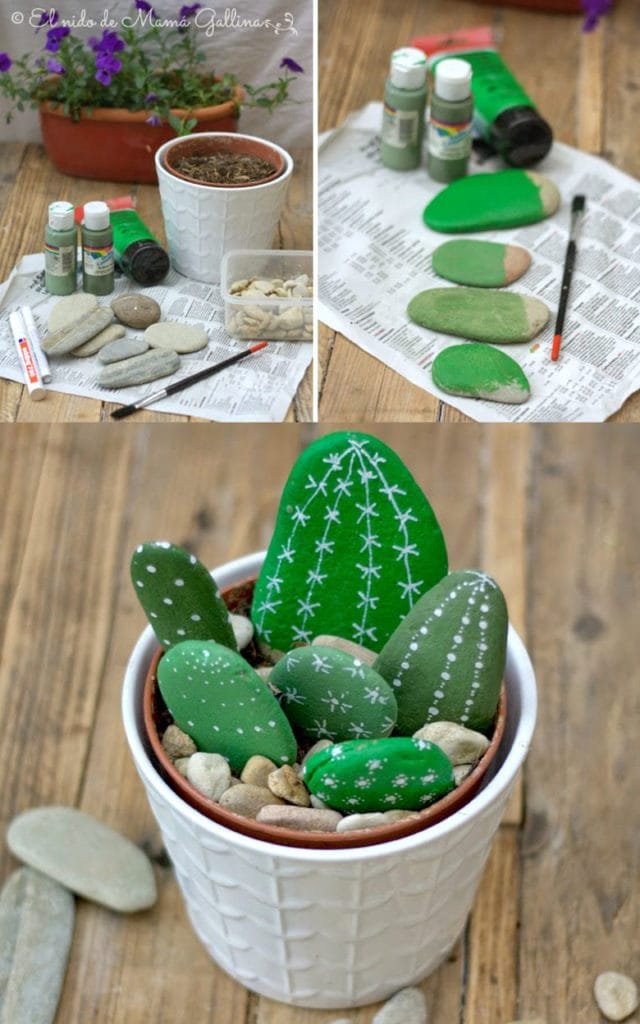 Create a cactus garden with painted rocks