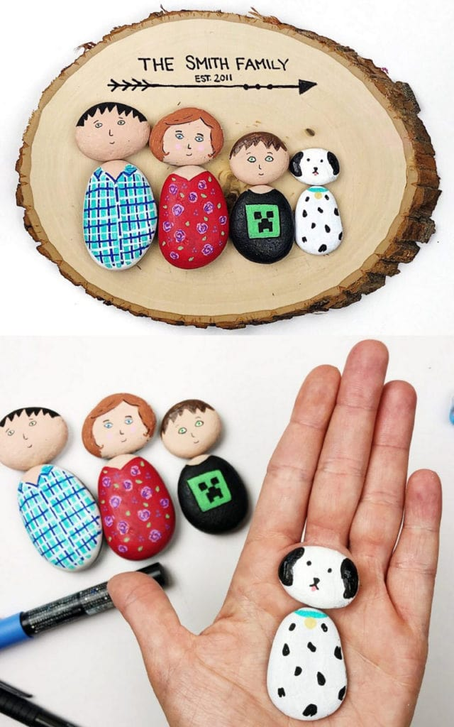 Family portrait painted rock ideas