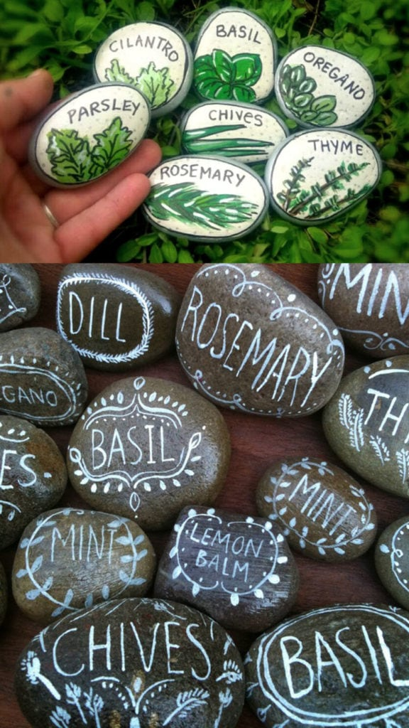Herb garden markers painted rock ideas