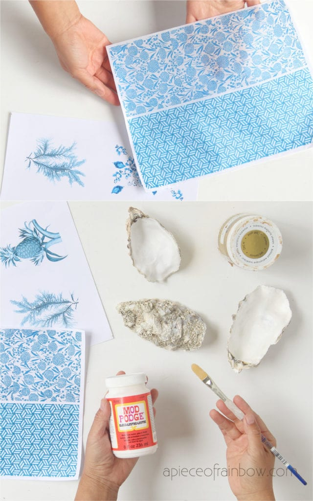 materials to make blue and white decoupage oyster shell  jewelry dish & ring dish