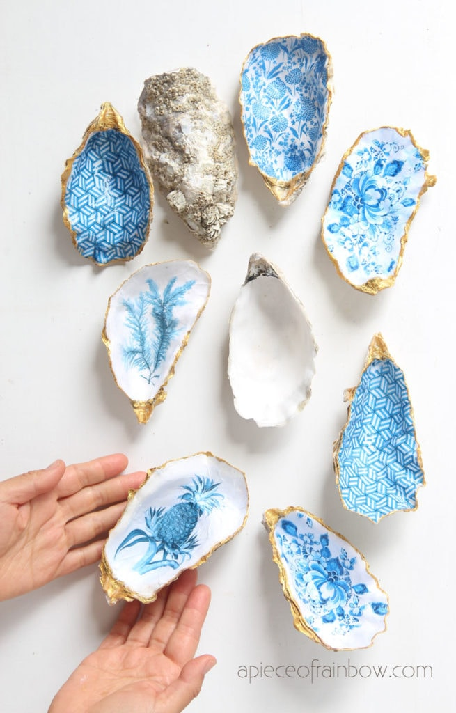 Beautiful DIY Anthropologie style oyster shell trinket dish, catch all tray, jewelry dish & ring holder. Great handmade gift, unique home decor & crafts!