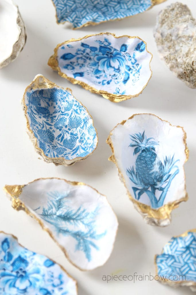 easy tutorial  to make oyster shell ring dish using vintage art and designs