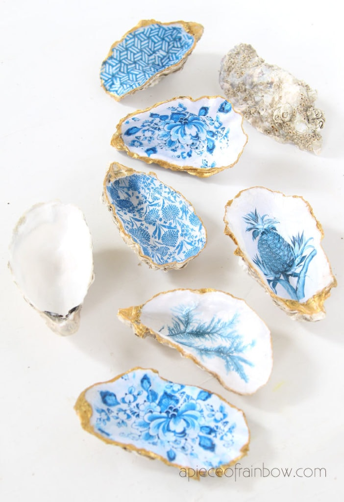 coastal style decorations with oyster shell ring dish