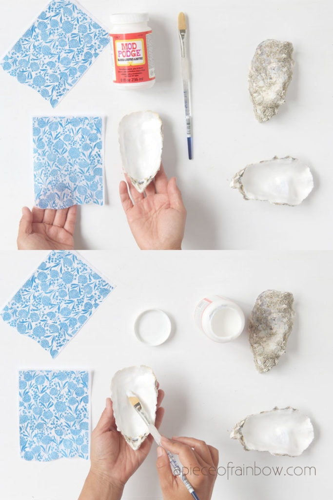 brush Mod podge or decoupage glue on oyster shell dish