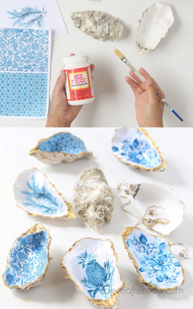 make Anthropologie boho style oyster shell ring dish using paper and mod podge