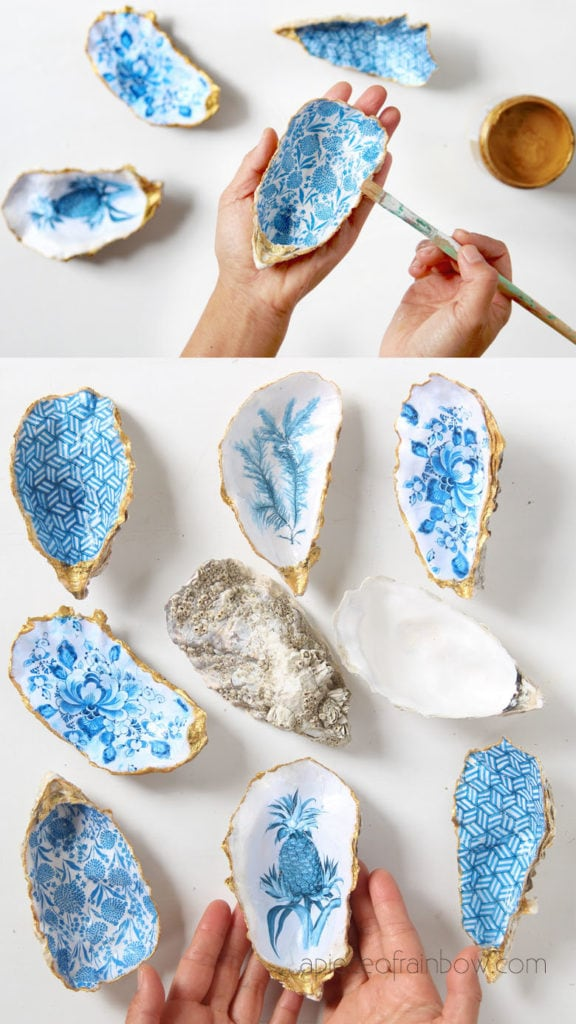 how to make oyster shell craft  for coastal beach house decor