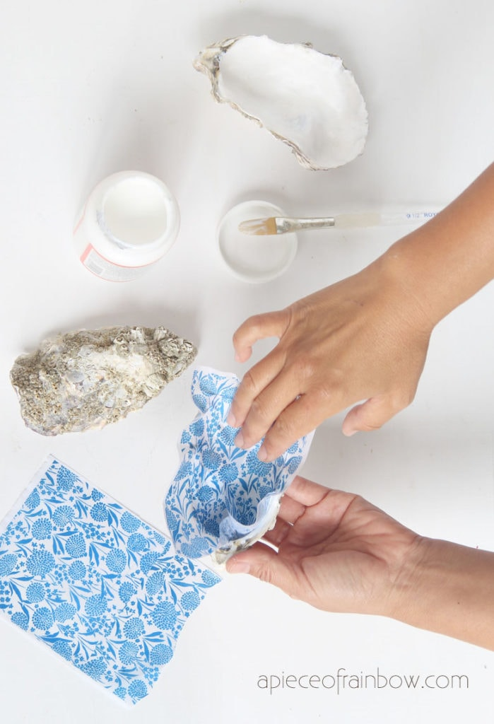 press tissue paper or napkin designs on shell