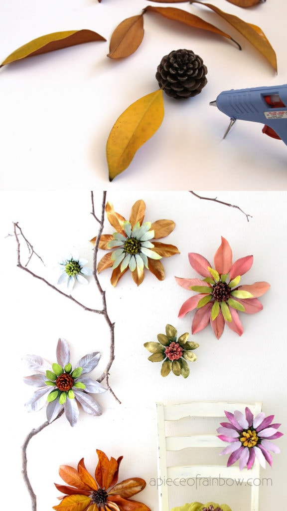Make giant flower decorations from nature finds