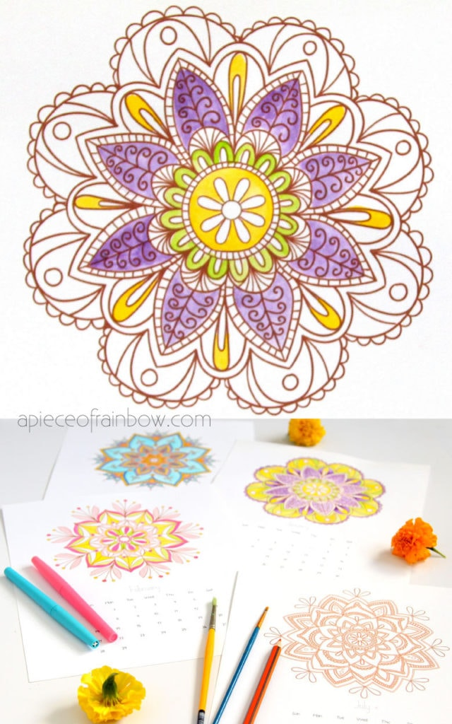 Color mandalas: art activities for kids and adults