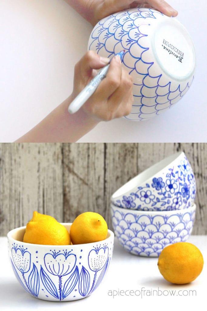 Sharpie art on mugs and bowls