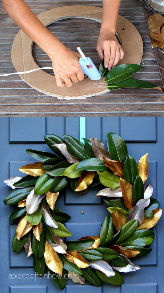 Make a wreath with leaves and cardboard : free craft activities for kids and family