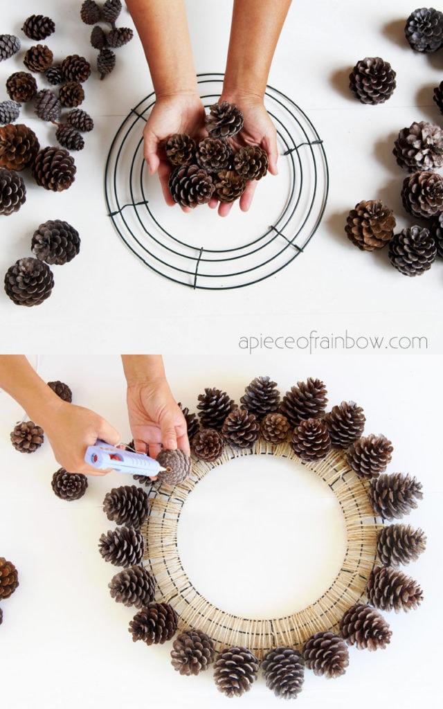 Make pinecone wreath