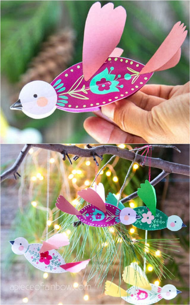 3D paper birds and mobile art