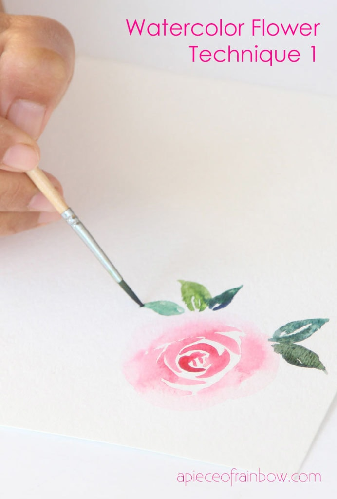 watercolor brushstroke techniques to paint watercolor flowers and leaves