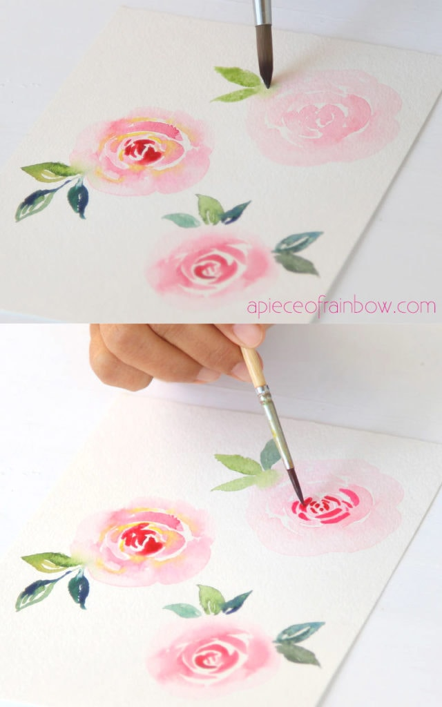 Let the paint dry, then add more layers to the watercolor flower