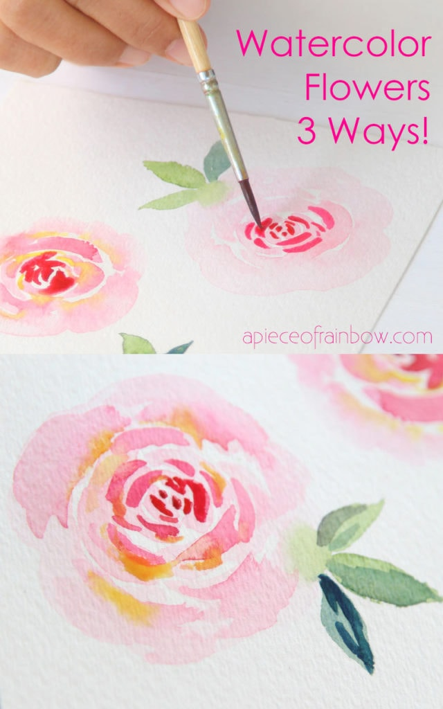 Paint beautiful watercolor rose 3 ways! Easy beginner's tutorial & video with 3 essential watercolor flower techniques including brushstrokes & wet-on-wet!